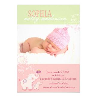 Elephants Baby Girl Photo Birth Announcements