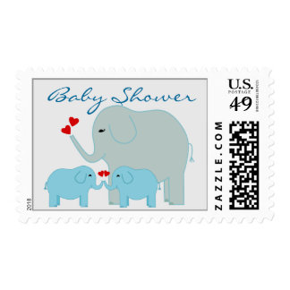 Elephants Baby Shower for Boy Twins Stamps