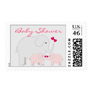 Elephants Baby Shower for Girl Twins Stamp