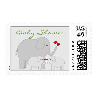 Elephants Baby Shower for Twins Gender Neutral Postage