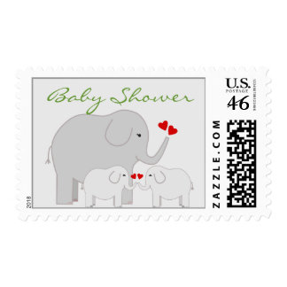 Elephants Baby Shower for Twins Gender Neutral Postage Stamps