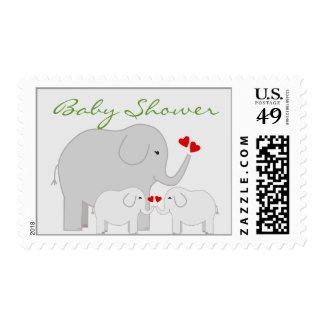 Elephants Baby Shower for Twins Gender Neutral Postage Stamp