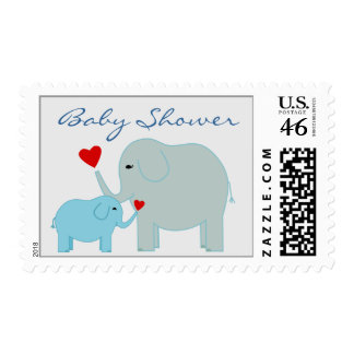 Elephants Baby Shower in Blue Postage
