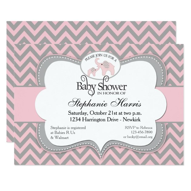 elephants baby shower in chevron pink card   zazzle, Baby shower invitations