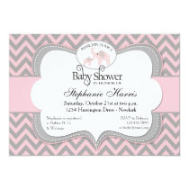 Elephants Baby Shower in Chevron Pink Card