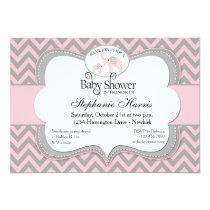 Elephants Baby Shower in Chevron Pink Invitation