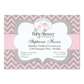 Elephants Baby Shower in Chevron Pink 5x7 Paper Invitation Card