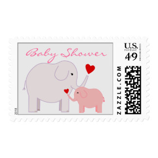 Elephants Baby Shower in Pink Postage Stamp