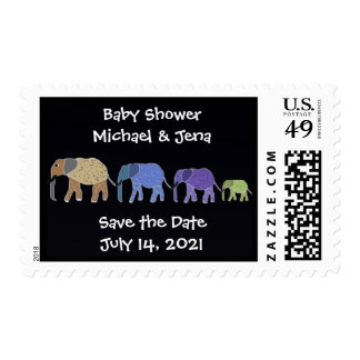 Elephants Baby Shower Postage Stamps