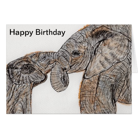 Elephants Birthday Card Mum Dad Son Daughter Etc