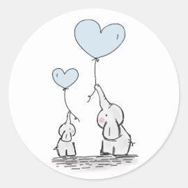 Elephants | Blue Heart Balloons Baby Shower Classic Round Sticker