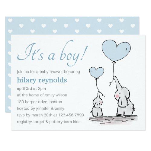 Elephants | Blue Heart Balloons Baby Shower Invitation