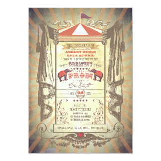 "Elephants Carnival Circus Prom Invitations 5"" X 7"" Invitation Card"