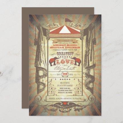 Elephants Carnival Circus Wedding Invitations