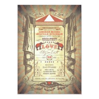 "Elephants Carnival Circus Wedding Invitations 5"" X 7"" Invitation Card"