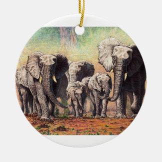 elephants ceramic ornament