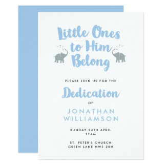 Elephants Christian Dedication Invitation | Blue