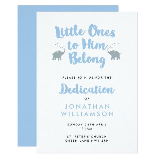 elephants christian dedication invitation blue zazzle com