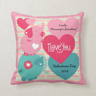 Elephants Customized Valentine Pillow