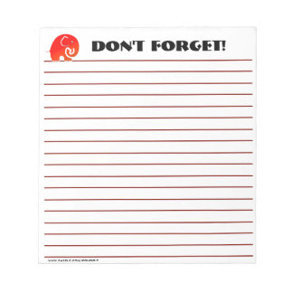 Elephants Don't Forget (Custom Notepad) Note Pad