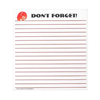 Elephants Don't Forget (Custom Notepad) Notepad