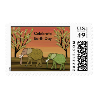 Elephants Earth Day Postage Stamps