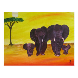 Elephants Family Postcard
