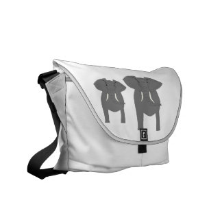 Elephants, front and rear view! courier bag