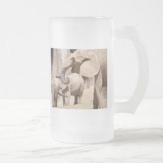 Elephants Frosted Glass Beer Mug