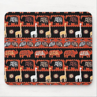 Elephants & Giraffes African Tribal Art Mousepad