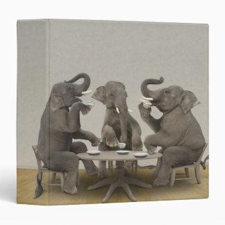 Elephants having tea party vinyl binders