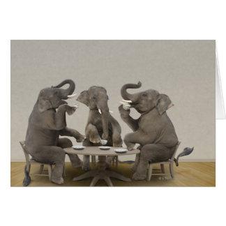Elephants having tea party card