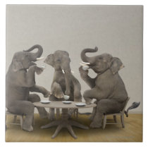 Elephants having tea party ceramic tile