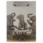 Elephants having tea party clipboards