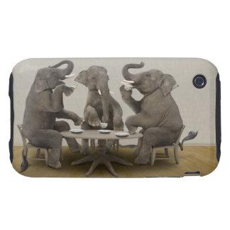 Elephants having tea party iPhone 3 tough cover