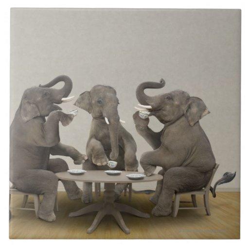 Elephants having tea party large square tile