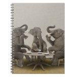 Elephants having tea party note book