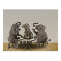 Elephants having tea party postcard