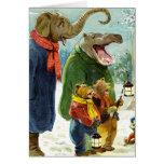 Elephants Hippopotamus & Bears Christmas Caroling Greeting Cards