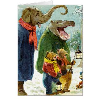 Elephants Hippopotamus & Bears Christmas Caroling Card