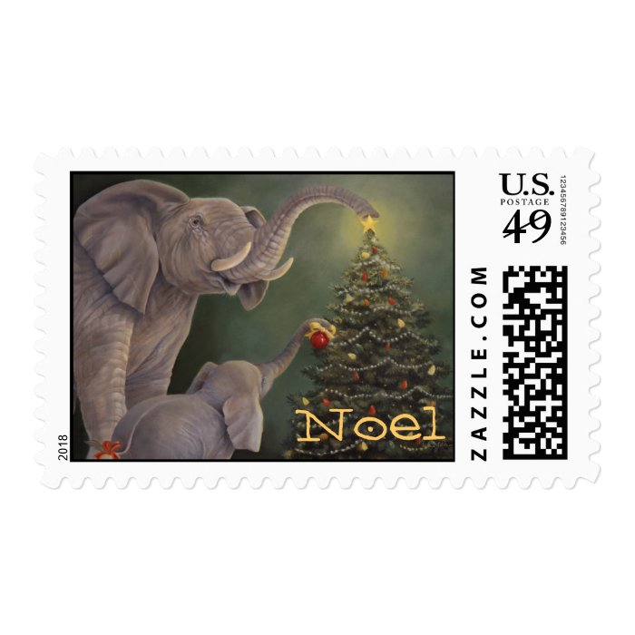 Elephants Holiday Stamp