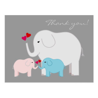 Elephants in Blue and Pink Thank You Postcard