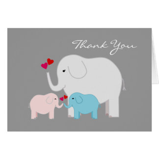 Elephants in Blue and Pink Twins Thank You Card