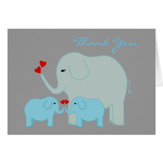 Elephants in Blue Twins Thank You Card