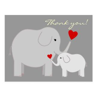 Elephants in Gray Thank You Postcard