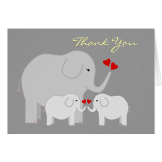 Elephants in Gray Twins Thank You Stationery Note Card