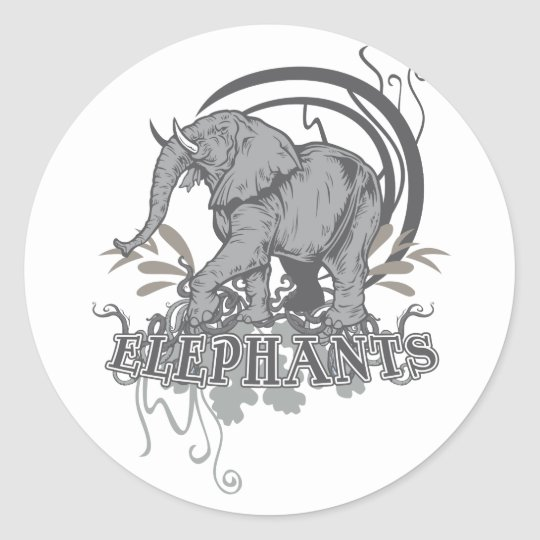 Elephants in Grey Classic Round Sticker
