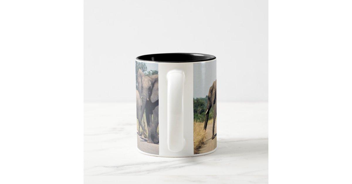 Elephants in kruger park two tone coffee mug zazzle