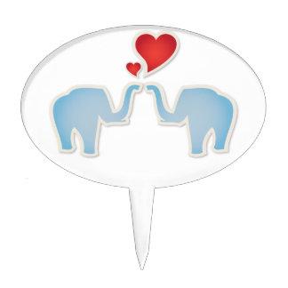 Elephants In Love Cake Picks