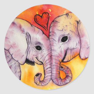 Elephants in Love Stickers